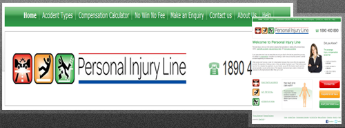 The Personal Injury Line website with CMS built by SitesToGo